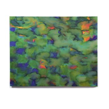 "Miranda Mol ""Dreamy Clouds"" Green Teal Abstract Fantasy Watercolor Painting Birchwood Wall Art"