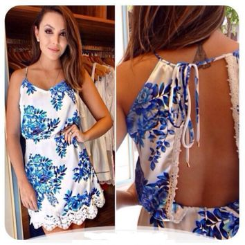 Fashion women's clothing euramerican style Summer leisure Printed sleeveless dresses