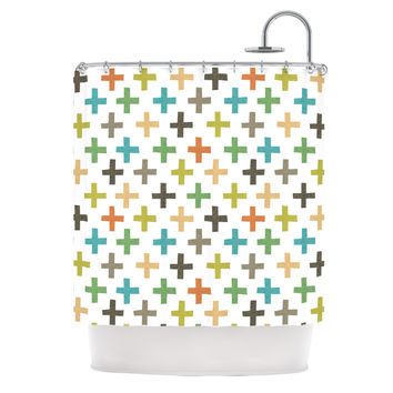 "Daisy Beatrice ""Hipster Crosses Repeat"" Multicolor Shower Curtain"