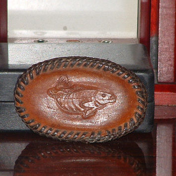 Brown Leather Handcrafted Fish Belt Buckle