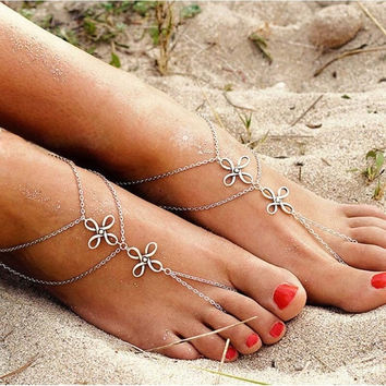 Fashion Beach Multi Tassel Toe Chain Link Foot Jewelry Anklet Chain (Color: Silver) = 5658256769