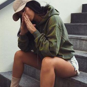 Crop Top Army Green Baddie Pullover