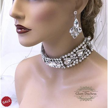 Victorian Inspired Crystal Choker Earrings Bridal Jewelry Set