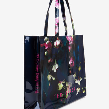 Large Fuchsia Floral shopper bag - Dark Blue | Bags | Ted Baker