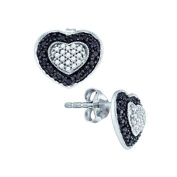 10K White Gold Black Colored Round Diamond Heart Love Cluster Screwback Stud Earrings 1/2 Cttw