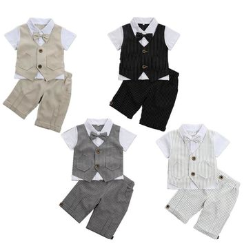 Baby Boys Clothes Summer Short Sleeves Gentleman children clothing 2pcs Set Infant Wedding Birthday Costume Baby Boy Costume