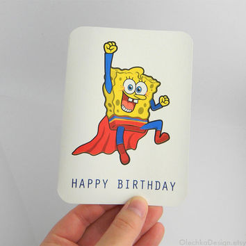 SuperSponge Birthday Card, SpongeBob, Superman, Blank Inside
