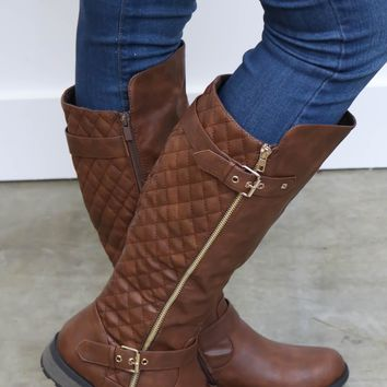 Brown Tall Boots W/ Stitched Back