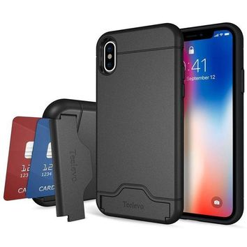 ONETOW iPhone X Case, Teelevo [Card Slot Holder] Dual Layer Shock Absorbent Wallet Case with Credit Card Holder and Kickstand [Heavy Duty Protection] for Apple iPhone X (2017) - Black