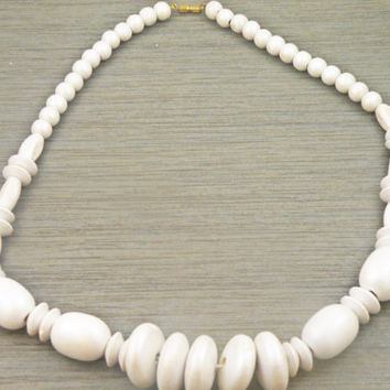Vintage White Wood Bead Chunky Necklace