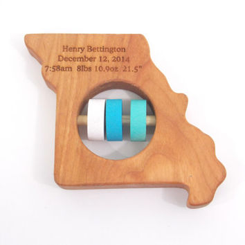 Missouri Baby Rattle - Modern Wooden Baby Toy - Organic and Natural