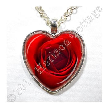 For your Valentine - Red Rose Heart - Art Photo Pendant