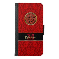 Celtic Red Lace Personalized Galaxy Wallet Case V2