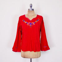 Vintage 70s 80s Red Mexican Shirt Mexican Blouse Mexican Top Tunic Mexican Embroider Shirt Embroider Top Embroider Blouse Hippie Boho L XL