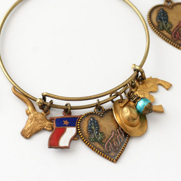 Texas Bangle and Earring Set, Bluebonnet Earrings, Texas Jewelry, Cowgirl Jewelry, Texas Hearts Longhorn Texas Flag Cowgirl Hat Charms SRAJD