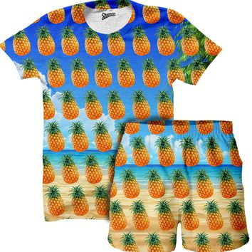 Beach Pineapple Shirt and Shorts Combo
