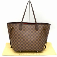 Authentic Louis Vuitton Neverfull MM Shoulder Tote Hand Bag Damier Brown Red