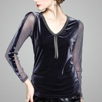Velvet Top W/ Shinny Mesh Sleeve