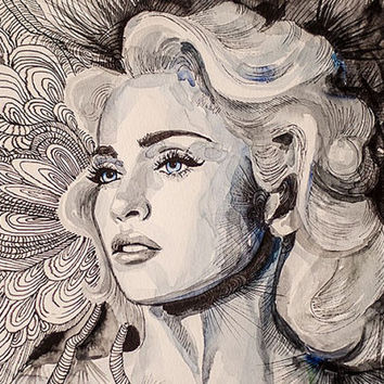 Madonna watercolor painting print, Celebrity Portraits, Fashion Illustration, modern, abstract