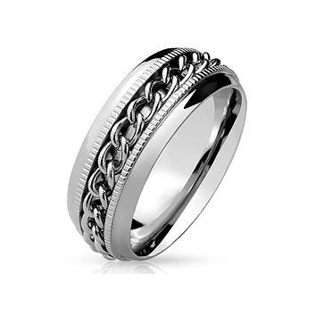 Chain Spinner - Chained Center Spinner Stainless Steel Ring
