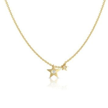 14K Yellow Gold Double Star Charm Necklace with Diamond Accent