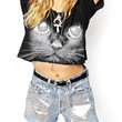 Cropped T-shirt With Cat Print