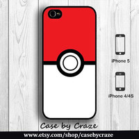Pokeball Pokemon Ball iPhone 4 Case iPhone 4S Case Cartoon Character iPhone 5 Back Cover (Black, White, Clear) --000088