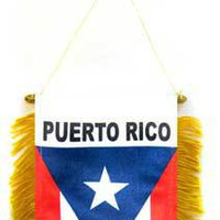 Mini Banner Flag for cars  - Puerto Rico
