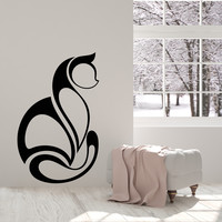 Vinyl Wall Decal Abstract Art Cat Pet Animal Room Decoration Stickers Unique Gift (1376ig)