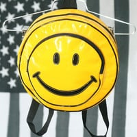 RAD Shiny Yellow 90s Smiley Face PVC Backpack