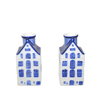 Blue and White Candle Holders House Candle Holders Colonial Candlesticks House Shaped Candle Holders