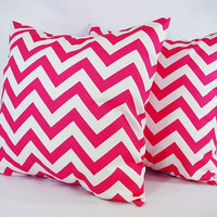 Chevron Decorative Pillow Covers Set of Two Hot Pink and White - 16 x 16 inches Throw Pillow Couch Pillow Cushion Cover Accent Pillow