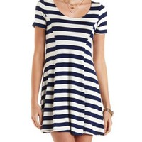 Striped Skater T-Shirt Dress by Charlotte Russe