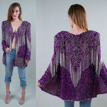 Vintage 80s Purple Silk Sequin Jacket blazer embroidered Tuxedo FRINGE tassel ornate Avant Garde strong shoulder encrusted coat L