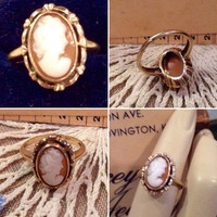 Vintage 10k yellow gold Shell Cameo ring  size 4   Antique Cameo ladies ring