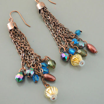 Vintage Earrings - Chain Earrings - Copper Earrings - Chloe Earrings - Bead Earrings - Bohemian Earrings - handmade jewelry