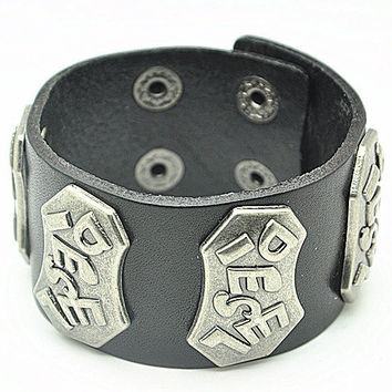 punk style Real Black Leather DIESEL Bracelet Women's Leather Bangle Bracelet, Men's Leather Cuff Bracelet, Unisex Leather Bracelet  SZ0044