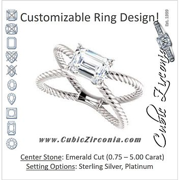 "Cubic Zirconia Engagement Ring- The Zaylee (Customizable Emerald Cut Solitaire with Wide Rope-Braiding ""X"" Split Band)"