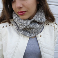 Grey Cowl scarf, infinity scarf, hand knitted neckwarmer, scarf necklace, gift for winter.Christmas gift.