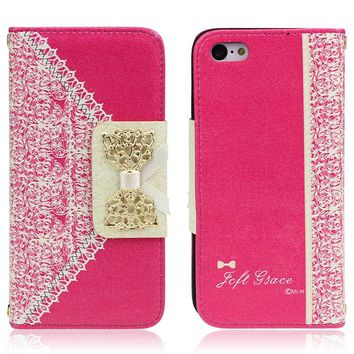 Hot Pink Cute Flip Wallet Leather Case Cover for iPhone 5C