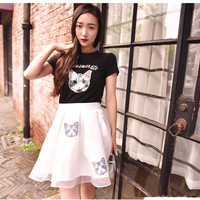 Piece cat print organza tutu dress