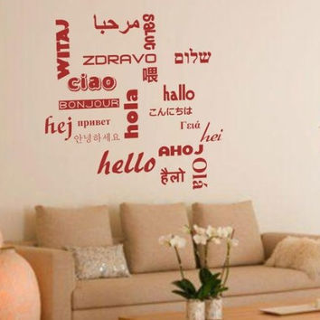 Hello In 20 Languages Decal Sticker Wall Art Hola Ciao Hei Home Decor Modern