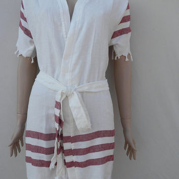 Women's Turkish peshtemal style bamboo kimono bathrobe, spa robe, beach cover up, dressing gown, morning gown with burgundy stripes.