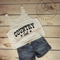 Country Gal - Crop Tank Top- Sizes S-XL.
