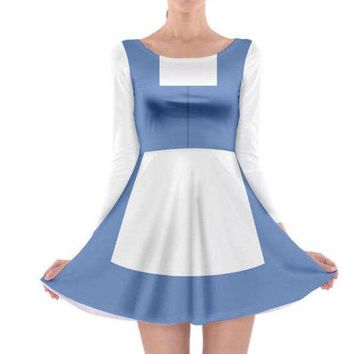 Adult Town Belle Beauty and the Beast Inspired Long Sleeve Skater Dress