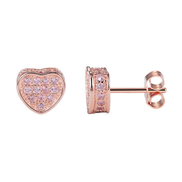 14k Rose Gold finish Sterling Silver Heart Micro Pave Pink Lab Diamonds Stud Earrings