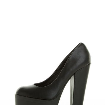 (and) Round toe lug sole chunky black platform heel