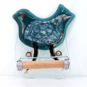 toilet paper holder  Fused glass Turquoise  bird by virtulyglass