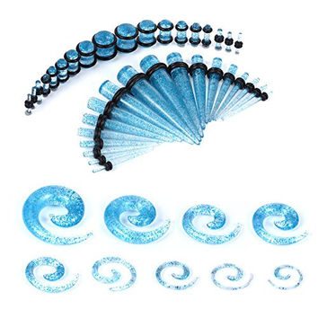 BodyJ4You® Gauges Kit Aqua Glitter Acrylic Tapers Plugs Spirals 14G-00G Ear Stretching Body Jewelry 54 Pieces