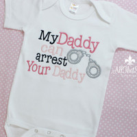 Baby Girls or Boys Embroidered Police Officer Daddy Onesuit - Baby Shower Gifts - Baby Girls Clothes - Bodysuit - Outfit